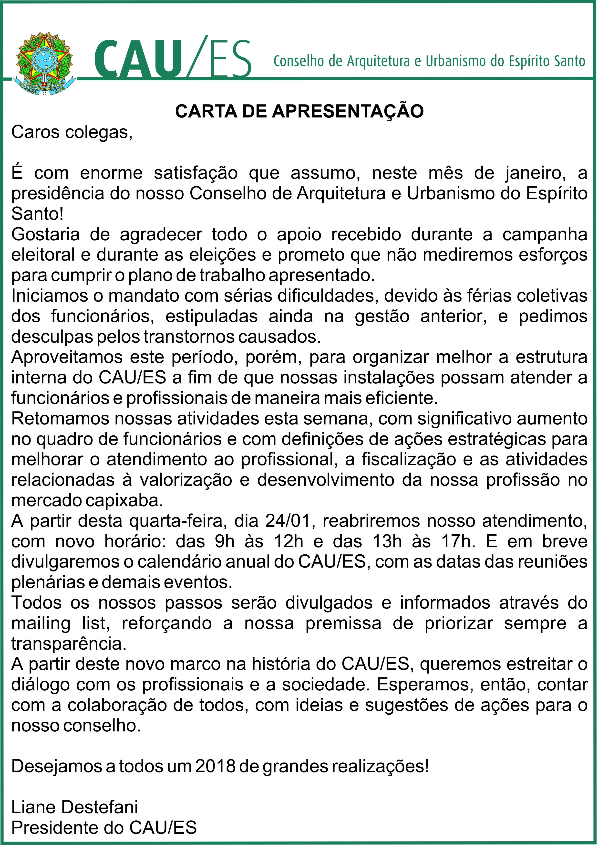 Carta De Apresentação Da Presidente Caues